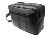 Mens Large Soft Leather Toiletry Travel Bag