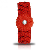 SHUKAN FASHIONS - NEW BABY GIRL CROCHET HEADBAND RED HAIR BAND WITH DAISY FLOWER FREE.