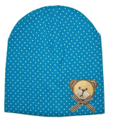 Baby Hat, Cap, Turquoise, Teddy Bear with Bow, Beanie Cap with 2 Layers, Age 6-18 months