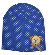 Baby Hat, Cap, Blue, Teddy Bear with Bow, Beanie Cap with 2 Layers, Age 6-18 months
