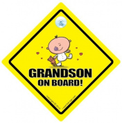 Grandson On Board Car Sign, Grandson On Board, Baby On Board Sign, Grandchild Car Sign, Car Decal, Car Window Sign, Baby Sign
