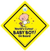 World's Cutest Baby Boy On Board, NEW BEAR, Baby On Board Sign, Car Sign, Grandchild on Board, Bumper Sticker, Decal, Baby Car Sign