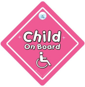 Disabled Child On Board Pink, Disabled Sign, Disabled Girl, Baby On Board Car Sign, Baby On Board Sign, Car Sign, Baby Car Sign