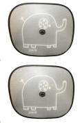 Redkite Folding Sunshades 2 Pack Sun Shades - Elephant Design - Black