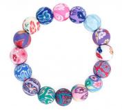 Bigood DIY Handmade Polymer Clay Fimo Round Floral Beads Elastic Stretch Bracelet Bangle Jewellery