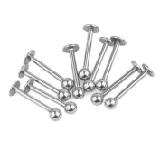 10Pcs Ball Labret Lip Chin Ring Silvery Stainless Steel Bar Piercing Studs Punk