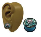 One - 14 mm - Aqua Blue Flower Sugar Skull Psychobilly Single Flare Ear Flesh Plug Stretcher Earring - Acrylic