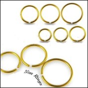 Piercing Boutique Gold Anodised Ear, Eyebrow, Nose Stud Hoop Ring 1mm (18g) x 6mm Diameter One Piece
