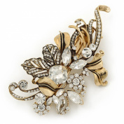 Vintage Inspired Gold Tone, Clear Cz Floral Barrette Hair Clip Grip - 105mm Across