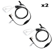 2 x KENWOOD Radio 2 Pin Earpiece (Bodyguard Style Two Wire Covert Acoustic Tube Headset) THE-SECURITY-STORE