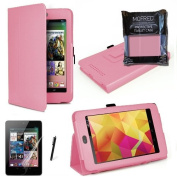 MOFRED® Baby Pink Luxury Multi Function Standby Case with Built-in Magnet for Sleep / Wake feature for the Google Nexus 7 Tablet (8GB,16GB,32GB or 32GB 3G HSPA+)- Second Updated Version w/Sleep Sensor + Screen Protector + Stylus Pen (Available in Mutip ..