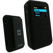 iGadgitz Silicone Skin Case Cover for SanDisk Sansa Clip Plus MP3 Player - Black