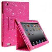 Diamond Bling Sparkly Gem Glitter Leather Flip Case Cover Pouch For Apple Ipad 2nd / 3rd / 4th Generation With Screen Guard & Stylus