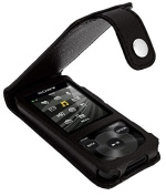 iGadgitz Black Leather Case for Sony Walkman NWZ-E585 with Detachable Carabiner + Screen Protector