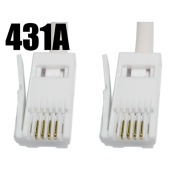 BT 4 Wire 431A Plug to 4 Wire Male Plug Telephone Cable Lead 1m