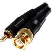 Pure Copper CCTV BNC to Phono Plug Cable Gold Connectors 1m