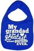Dirty Fingers, My Grandad is the Greatest, Boy Girl Feeding Bib, Royal Blue
