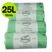 25 Litre x 100 Compostable Caddy Bags - Biobag Kitchen Food Waste Compost Liners 25L - EN 13432 - Biobags Pedal Bin Bags with Composting Guide