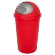 NEW COLOUR 45l RED BULLET BIN/SILVER FLAP / DUSTBIN / RUBBISH BIN / FOR KITCHEN / BATHROOM / LIFT TOP.MADE IN UK