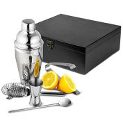 Manhattan Nights Cocktail Gift Set in Wooden Gift Box by bar@drinkstuff | Cocktail Shaker, Cocktail Strainer, Jigger Measure, Drinks Stirrer, Ice Tongs