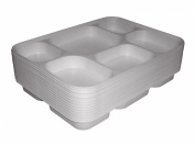 Thali Outlet - 100 x Small Mini Punjabi 6 Section White Disposable Thali Food Starter Trays Plates For Indian Events Birthdays Weddings Parties All Occasions