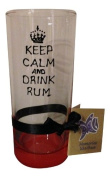 Memories-Like-These Red Keep Calm And Drink Rum Hand Painted Long Glass Unusual Personal Gift