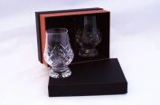 1.9ly - Cut Glencairn Whisky Tasting Nosing Glasses in The New Twin Black/Gold Presentation Box-