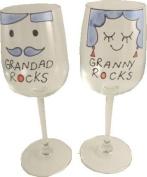 Grandad and Granny Rocks Wine Glasses