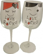 Love Rocks Boyfriend and Girlfriend Wine Glasses(Pair)