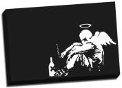Banksy Fallen Angel Graffiti Canvas Art Print Framed Picture Large 50cm x 80cm A1