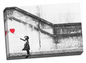 Large Banksy Balloon Girl Graffiti Canvas Art Print 50cm x 80cm A1