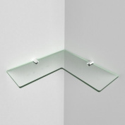 250mm Acrylic Corner Safety Shelf - bathrooms, bedrooms, offices, Free Trolley Token Material Sample Included per Shipment, Glass Effect