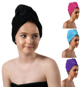 TowelsRus Luxury Hair Turban, Black, Absorbent Towel and Lightweight Cotton