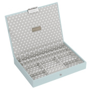 STACKERS 'CLASSIC SIZE' Duck Egg Blue Lidded STACKER Jewellery Box with Grey PolkaDot Lining.