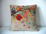 "Cotton Linen Square Decorative Throw Pillow Case Cushion Cover Owls with Birdcage 46cm X18 """