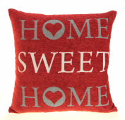 "Home Sweet Home Cushion Cover, Exclusive Vintage Retro Design by Ideal Textiles, Red, 18"" x 18"", 45cm x 45cm"