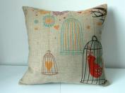 "Cotton Linen Square Decorative Throw Pillow Case Cushion Cover Birdcage 46cm X18 """