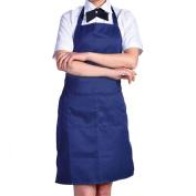 Plain Apron with Front Pocket Kitchen Cooking Craft Baking Dark Blue