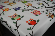 Wipe Clean Tablecloth Oilcloth Vinyl Ozzy Owl White by Karina Home 140cm x 200cm