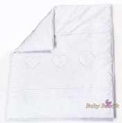 Quilt with Embroidered Heart / Duvet Filling Suitable for Crib / Pram - WHITE