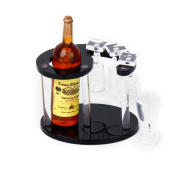 1:12 Doll House Miniature Champagne Bottle Wine Rack with 4 Glasses Doll Play Set---Random Colour