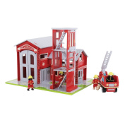 Bigjigs Toys JT127 Heritage Playset Fire Station and Engine