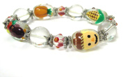 Fiona Hand Painted Thanksgiving Glass Beads Stretch Bracelet