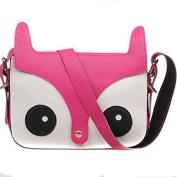 Fox Owl Retro Shoulder Messenger Bag Satchel Handbag,rose red