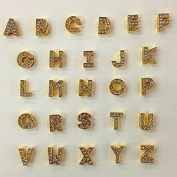 52 Pc Gold Rhinestone Letters Alphabet English Letters or Pick Your Own Letter Charms Can Fit in 8mm Slide Bracelet/rhinestone Letters/gold Letters/letter Charms/