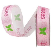 Satin Glitter Princess Pink Printed Ribbon - 5yards