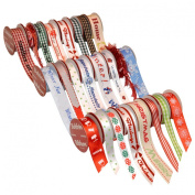 Morex Ribbon 900/24-1211 Bobbin Christmas Variety Pack Grosgrain and Satin Ribbon, 1.6cm by 0.9m and 1cm by 1.2m, Assorted