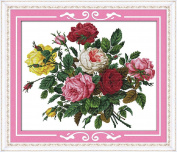 Counted Cross Stitch Multicoloured Roses 14CT 51X42CM