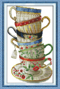 Benway Stamped Cross Stitch Six Beatiful Coffee Cups 11CT 35x54cm