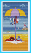Benway Stamped Cross Stitch Cats Sunbathing On The Beach 11CT 23x39cm